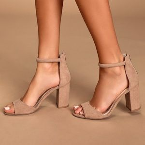 Lulu's Sidecar Cutie Taupe Suede Ankle Strap Heels